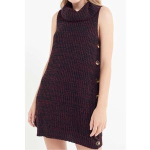 UO Side-Button Turtleneck Sweater Dress S NEW
